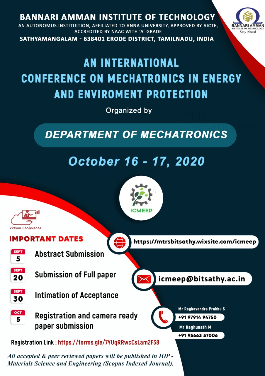 International Virtual Conference on Mechatronics in Energy and Environmental Protection (ICMEEP 2020)