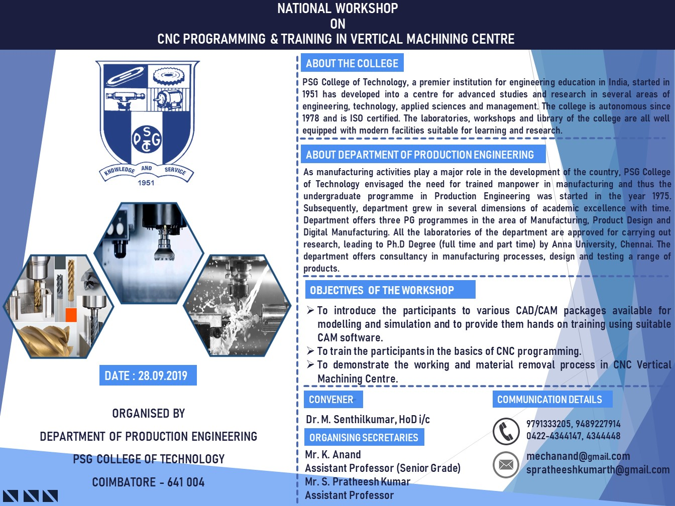 National Workshop on CNC Programming and Training in Vertical Machining Centre 2019