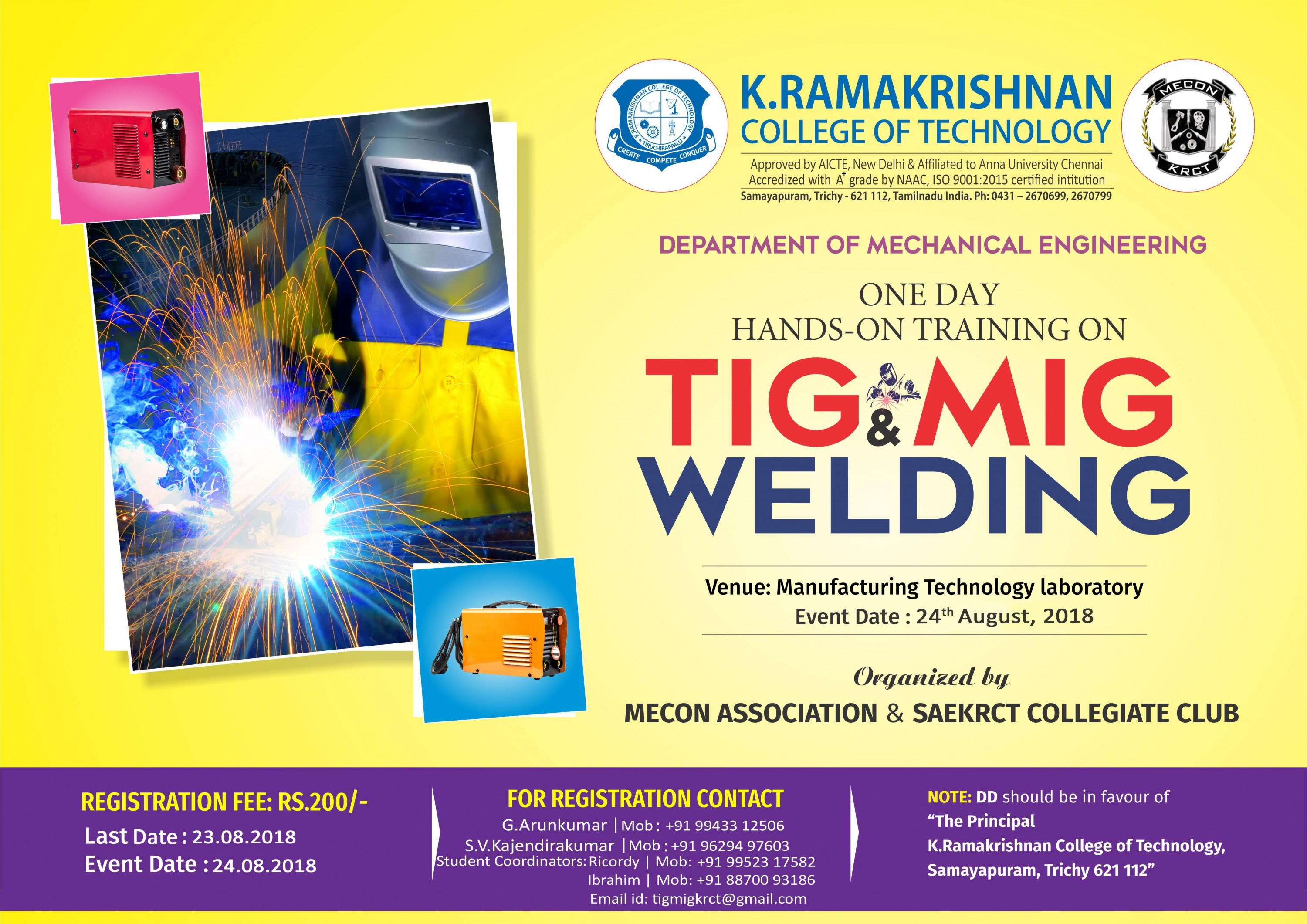 One Day Hands on Training on TIG and MIG Welding 2018