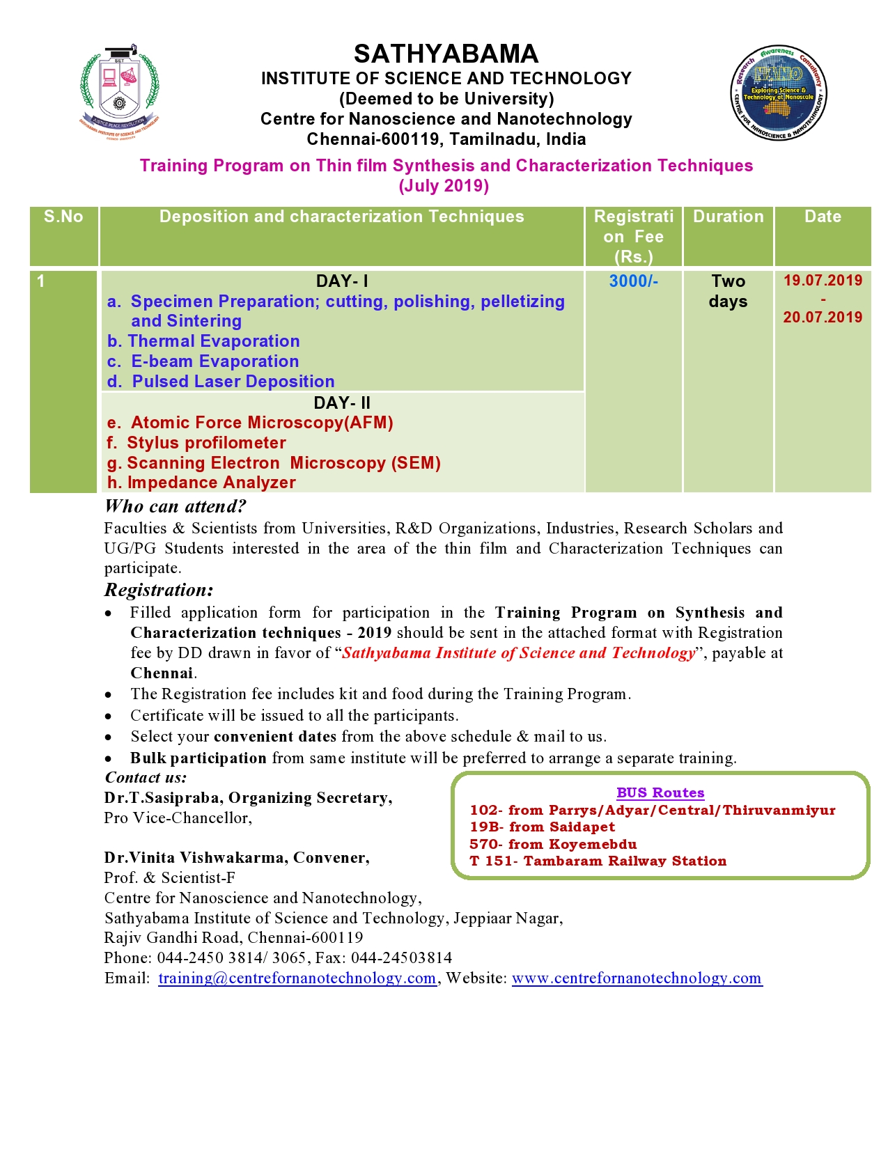 Training Program on Thin film Synthesis and Characterization Techniques 2019