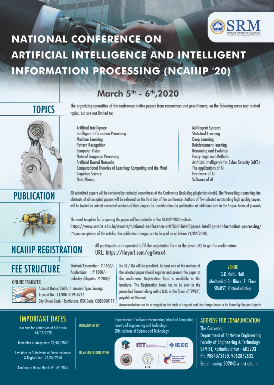 National Conference on Artificial intelligence and Intelligent Information Processing NCAIIIP 2020