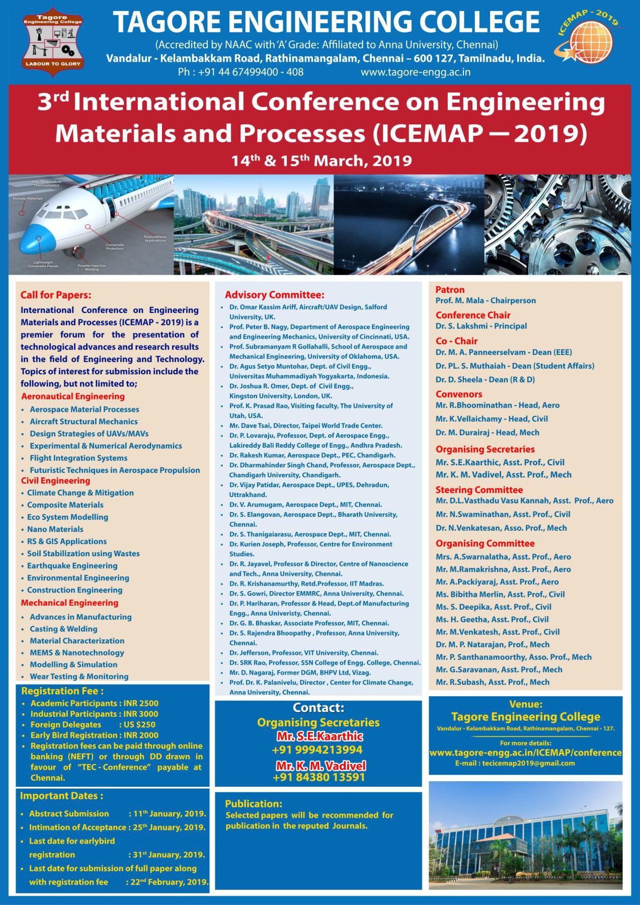 ICEMAP 2019 International Conference on Engineering Materials and Processes