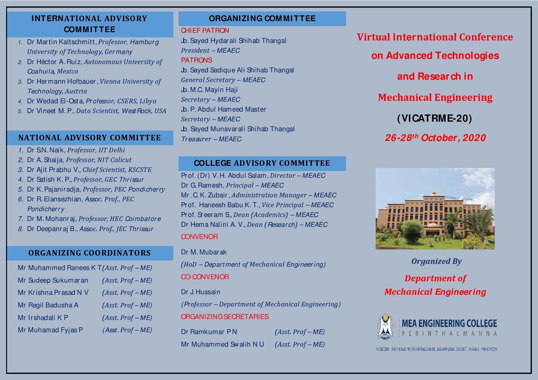 Virtual International Conference on Advanced Technologies and Research in Mechanical Engineering VICATRME 20