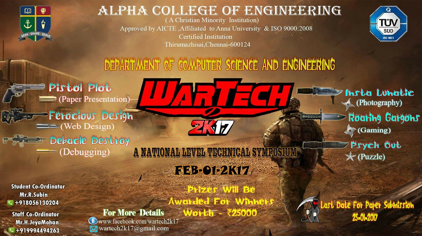 Poster design for symposium - Category Technical Symposium Organiser Alpha College Of Engineering Location Chennai Tamil Nadu Event Dates 1st February 2017