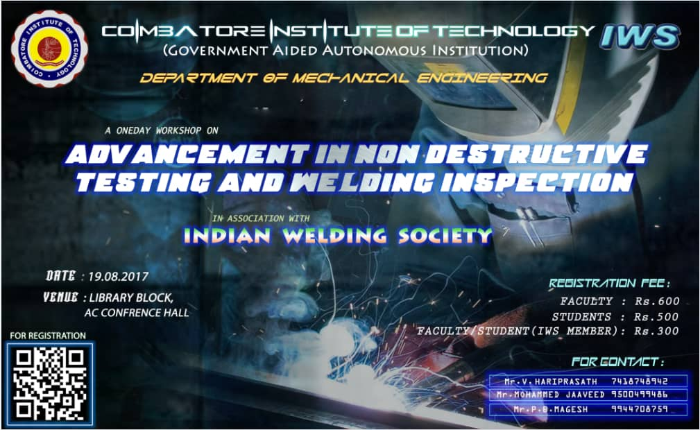 Workshop on Advancement in Non Destructive Testing and Welding inspection