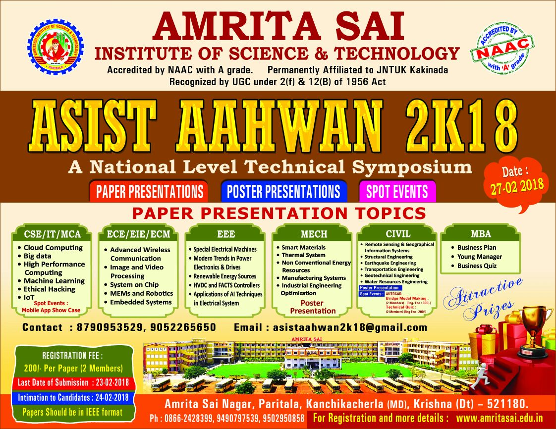 Asist aahwan 2k18, amrita sai institute of science and technology.