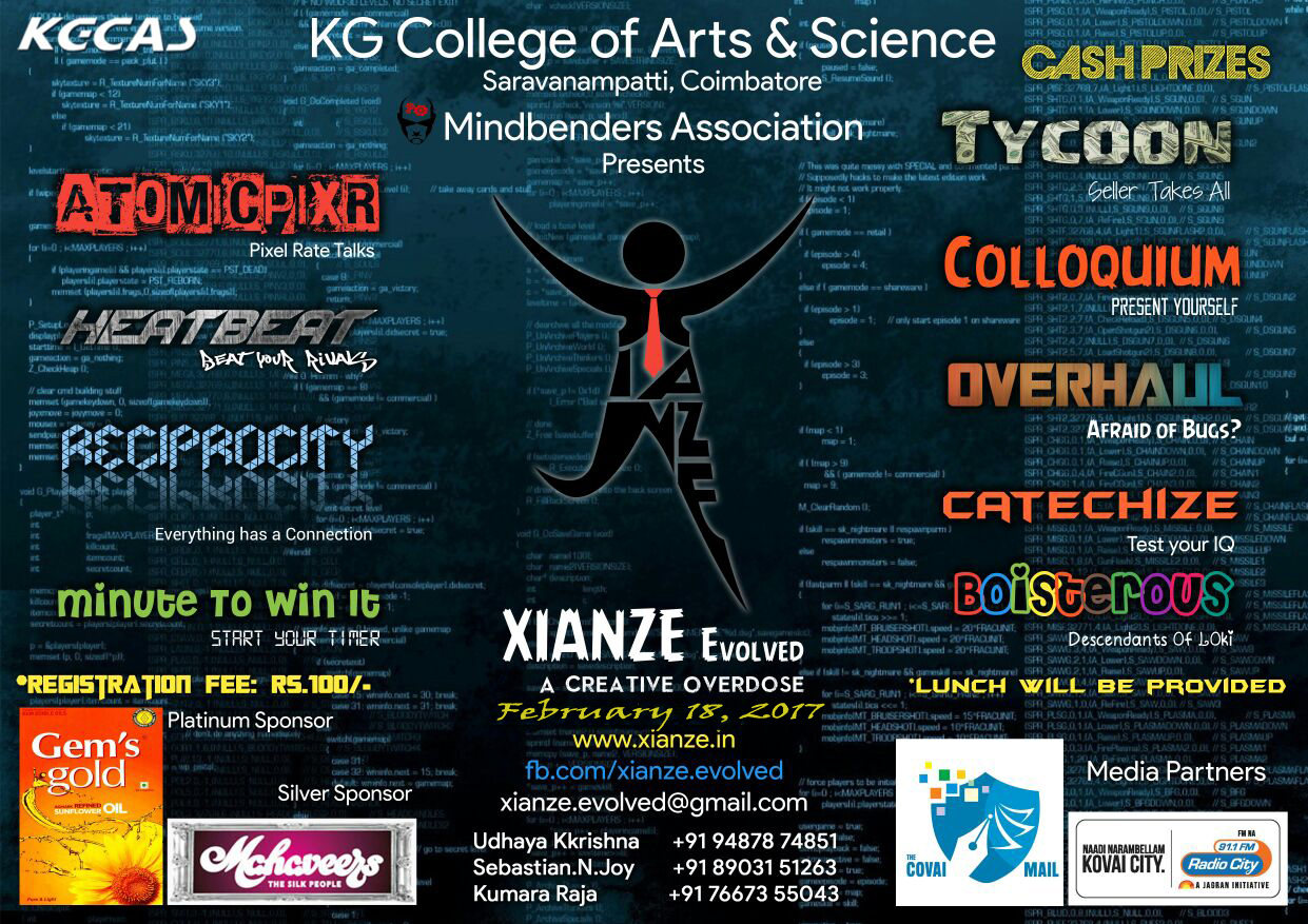 Poster design for college fest - Category Technical Fest Organiser Kg College Of Arts And Science Location Coimbatore Tamil Nadu Event Dates 18th February 2017