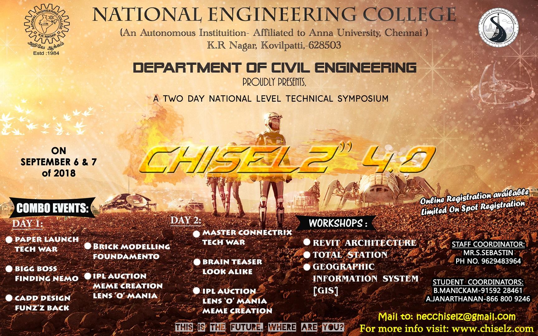 CHISELZ 4 o, National Engineering College Kovilpatti, Civil