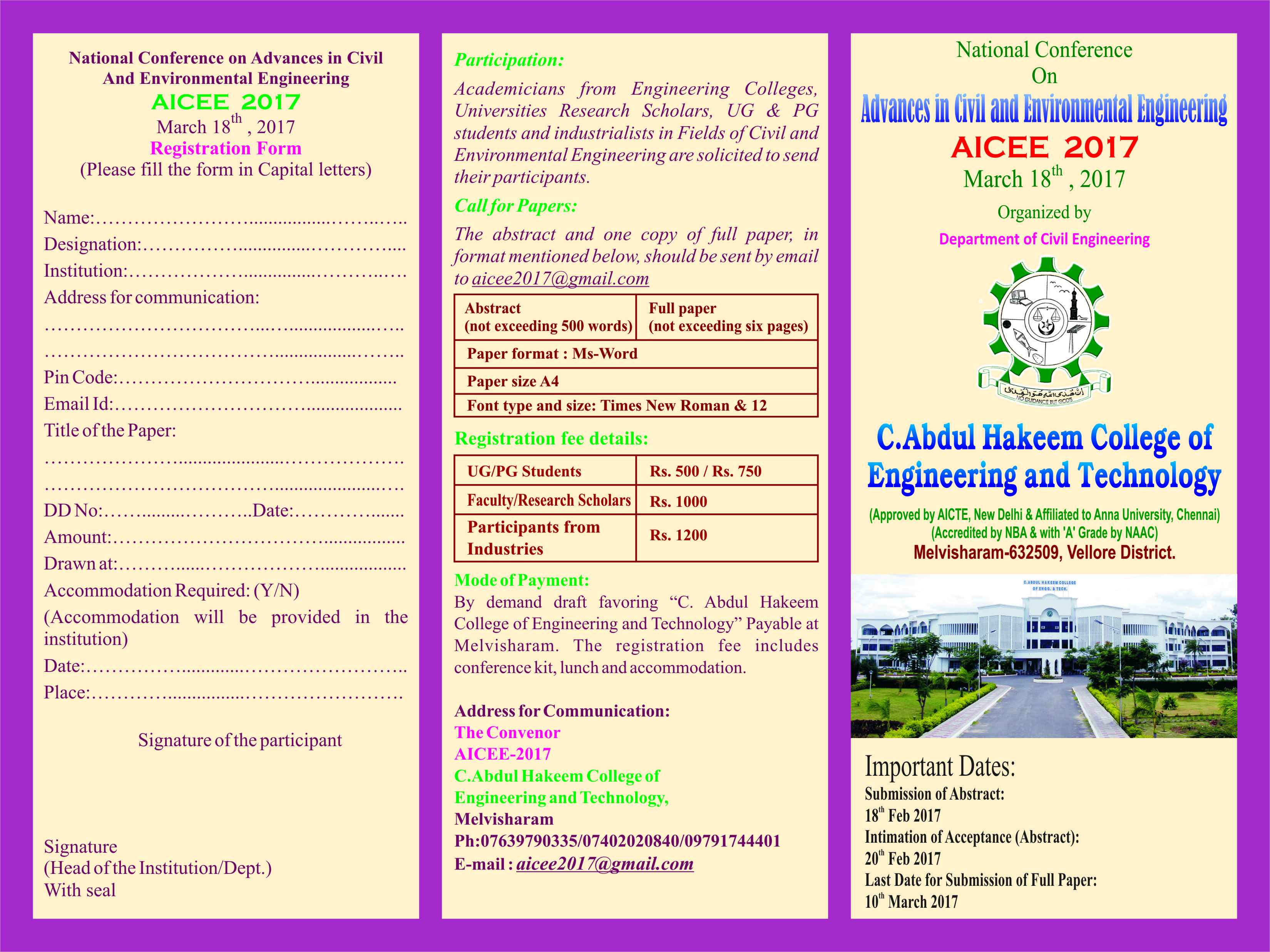 Advances in Civil and Environmental Engineering AICEE 2017