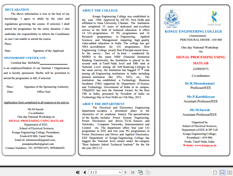 One day National Workshop on Signal Processing using MATLAB