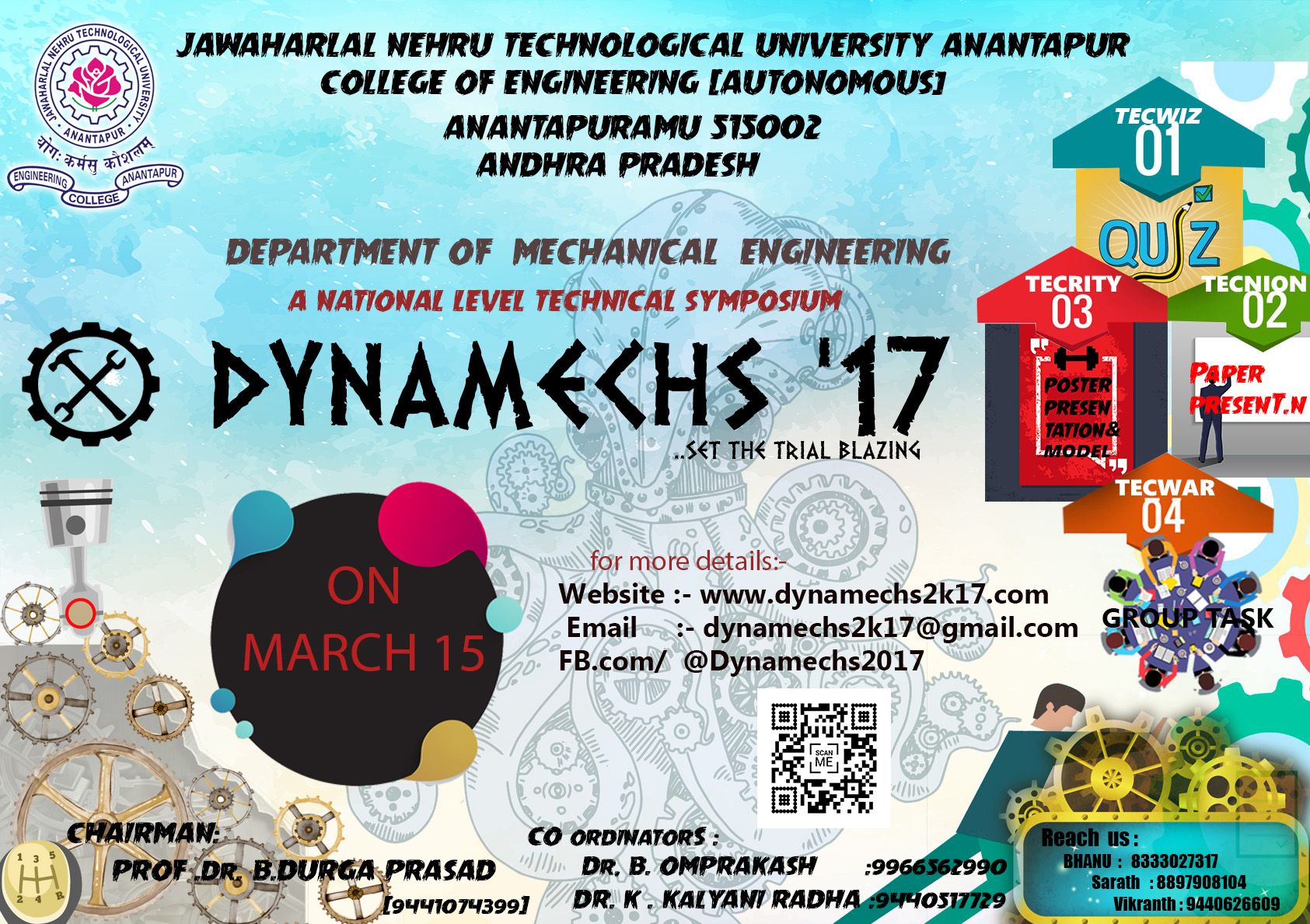 Poster design for college fest - Organiser Jntua College Of Engineering Anantapur Location Anantapur Andhra Pradesh Event Dates 15th March 2017