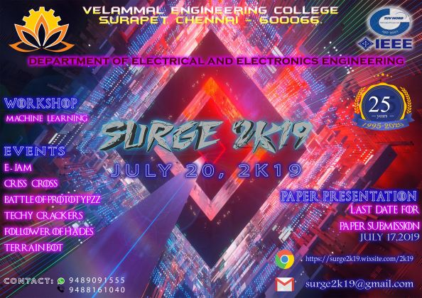Surge 2k19, Velammal Engineering College, Electrical and
