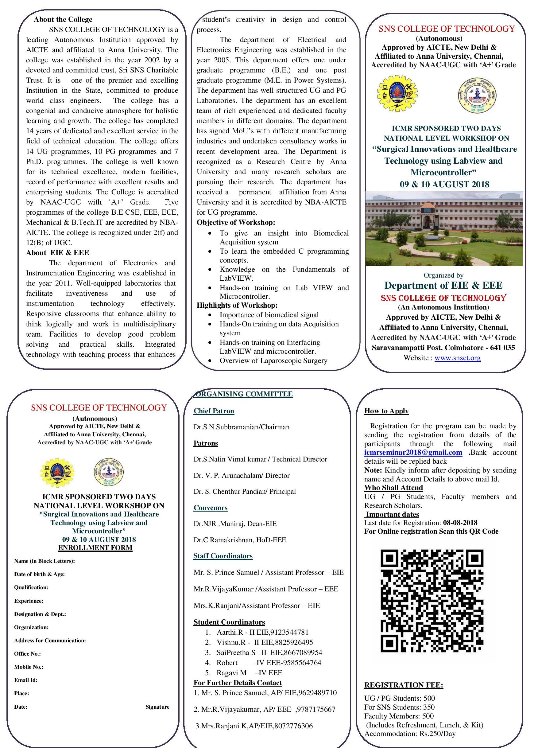 ICMR Sponsored Two Days National Level Workshop on Surgical innovations and Healthcare Technology using Labview and Microcontroller 2018
