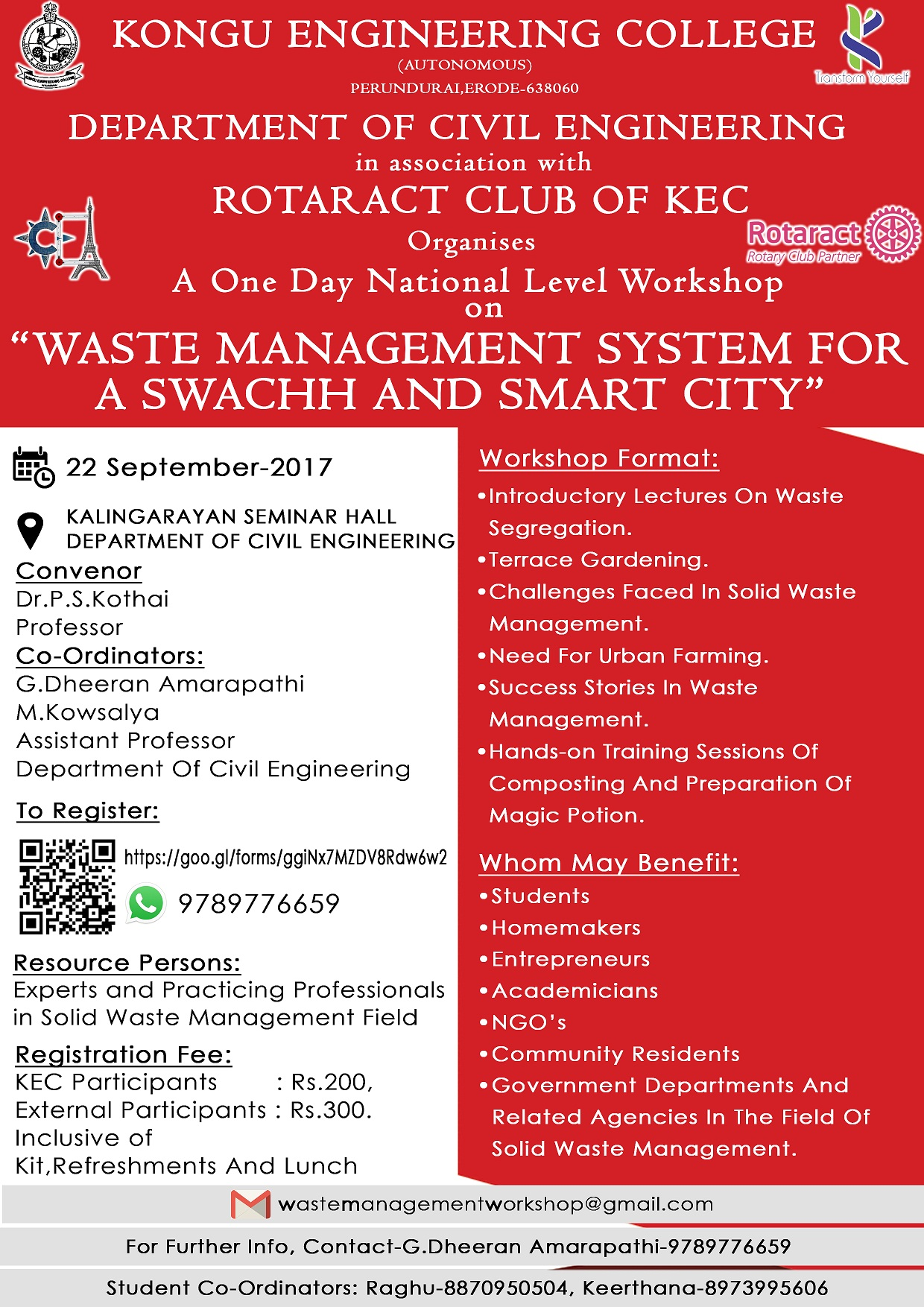 Workshop on Waste Management System for a Swachh and Smart City