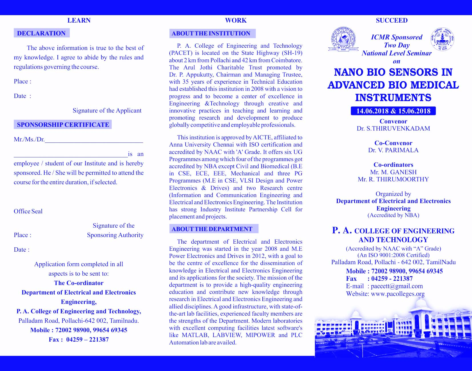 ICMR sponsored Two Day National Level Seminar on 'Nano Biosensors in Advanced Biomedical Instruments 2018