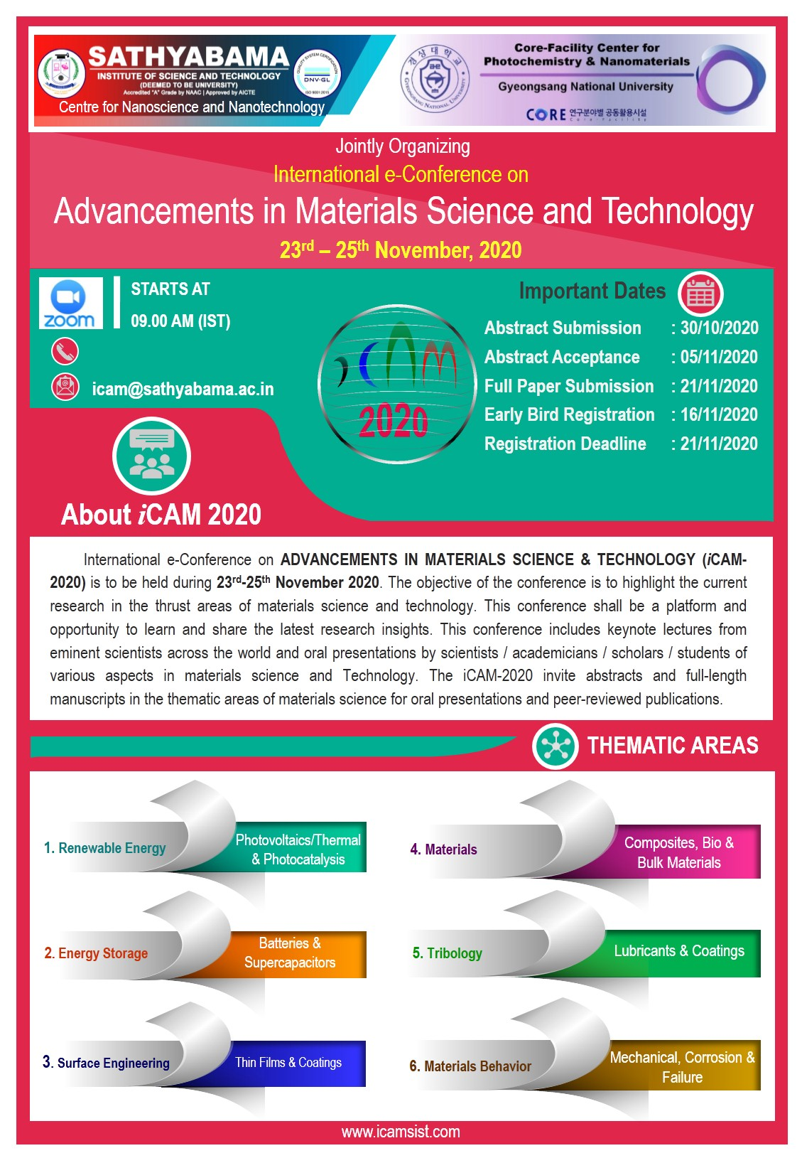 International Conference on Advancements in Materials Science and Technology iCAM 2020