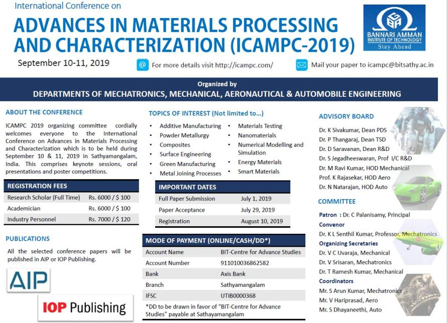 International Conference on Advances in Materials Processing and Characterization ICAMPC 2019