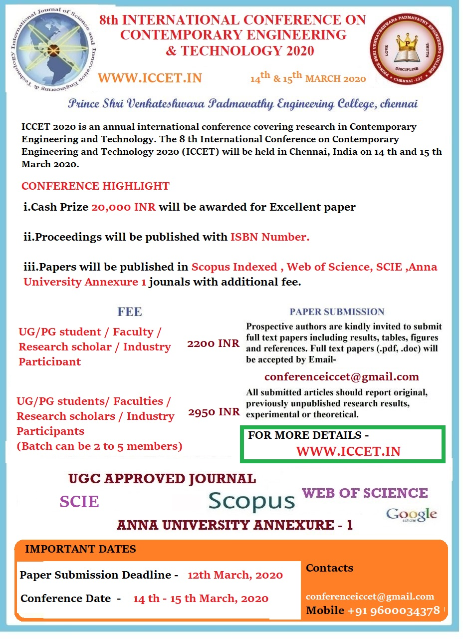 8th International Conference on Contemporary Engineering and Technology ICCET 2020