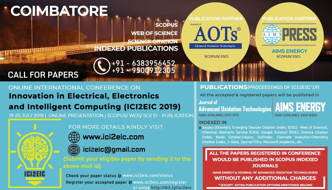 Online International Conference on Innovation in Electrical, Electronics and Intelligent Computing ICI2EIC 2019