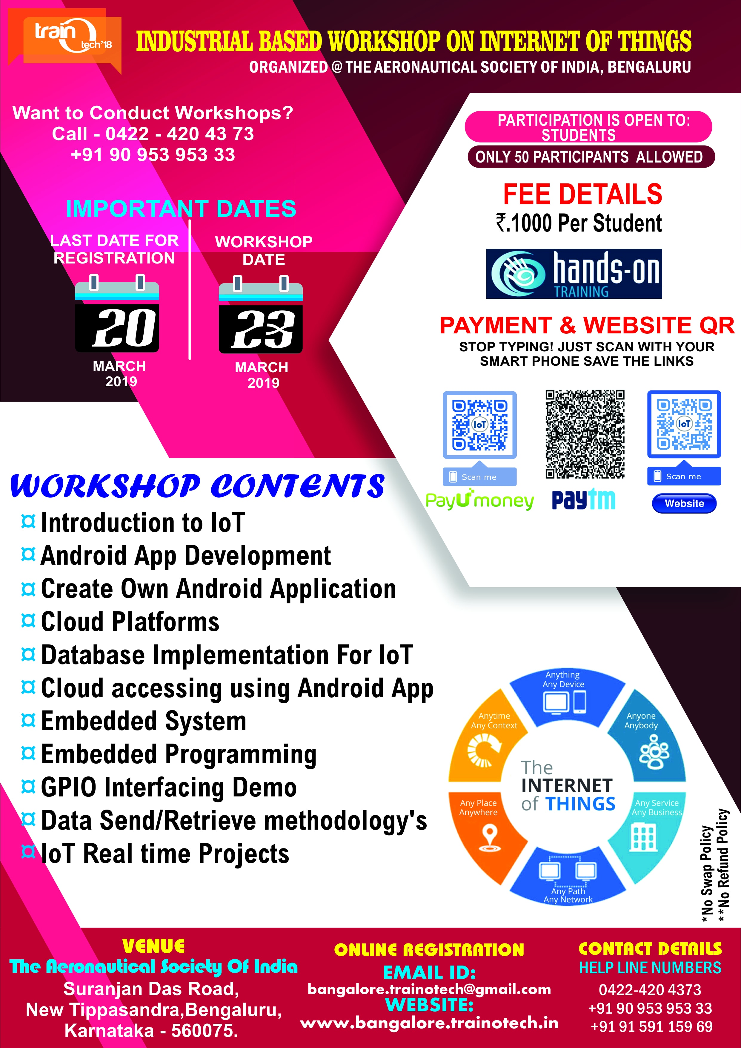Industrial Based Workshop on Internet of Things 2019