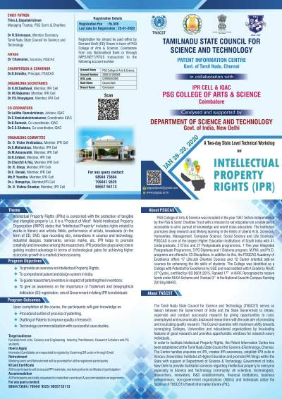 A Two-day State Level Technical Workshop on Intellectual Property Rights 2020