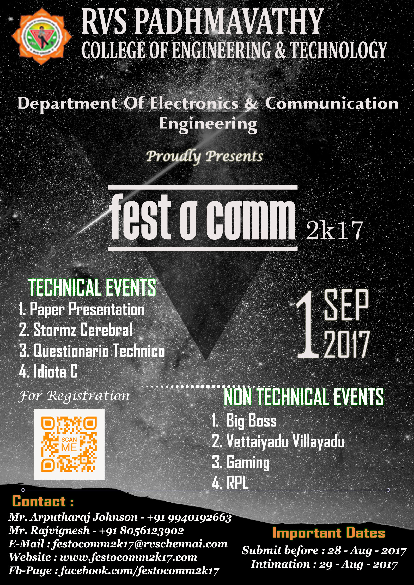 Festocomm 2k17, RVS Padhmavathy College of Engineering and
