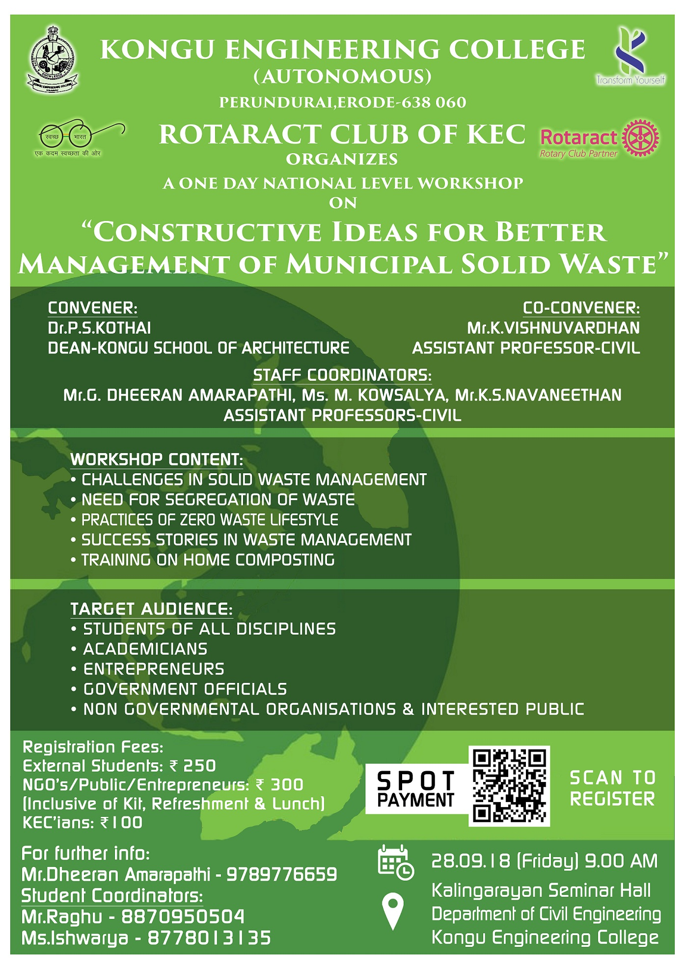 One Day National Level Workshop on Constructive Ideas for Better Management of Municipal Solid Waste 2018